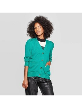Women's Puff Shoulder Long Sleeve Cardigan   Who What Wear™ by Who What Wear