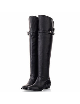 Winter Leather Over The Knee Round Toe Boots by Newchic