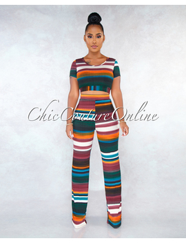 Odessa Multi Color Stripes Ribbed Two Piece Pants Set by Chic Couture
