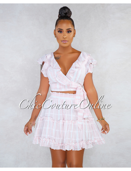 Regis Soft Pink White Stripes Wrap Top Ruffle Details Skirt Set by Chic Couture
