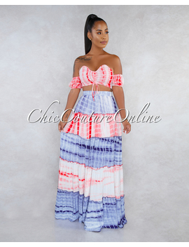 Satura Red Blue Tie Dye Two Piece Skirt Set by Chic Couture