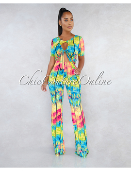 Stephan Bright Multi Color Print Cut Out Top Two Piece Set by Chic Couture
