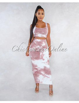 Adeja Mauve Tie Dye Front Tie Skirt Two Piece Set by Chic Couture