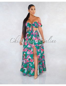 Shoshana Green Magenta Multi Color Floral Two Piece Skirt Set by Chic Couture