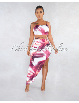 Stephanelle White Fuchsia Leaf Print Uneven Skirt Two Piece Set by Chic Couture