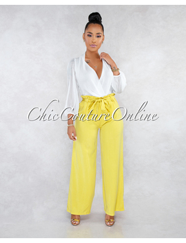 Villa Mustard Yellow Paper Bag Wide Pants by Chic Couture