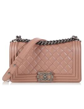 Boy Old Medium Iridescent Ruthenium Hardware Nude Light Pink Calfskin Leather Cross Body Bag by Chanel
