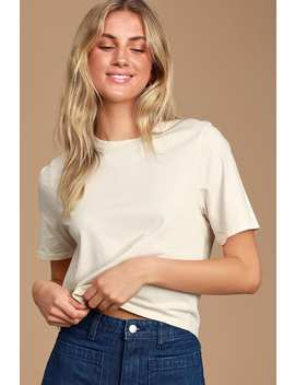 Zoe Cream Short Sleeve Cropped Tee by Etica