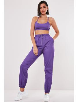 Purple Co Ord Twill Joggers by Missguided