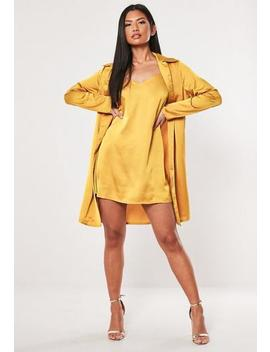 Better Together Mustard Cami Duo Satin Shirt Dress by Missguided