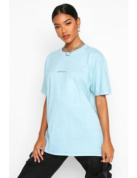 Woman Micro Slogan Washed Oversized T Shirt by Boohoo