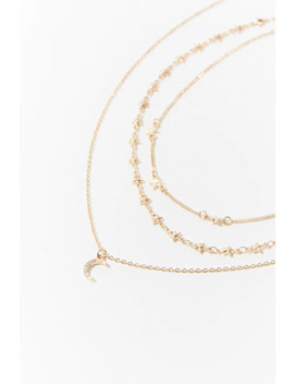 Moon & Stars Necklace Set by Forever 21