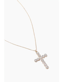 Rhinestone Cross Pendant Necklace by Forever 21