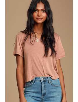 Laid Back Lover Washed Dusty Rose Cropped Tee by Lulus