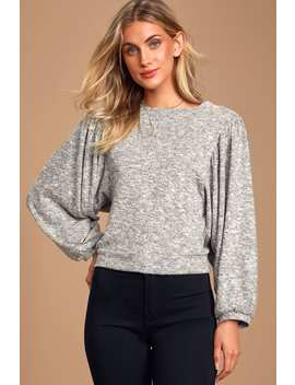 Cozy Mornings Heather Grey Puff Sleeve Top by Lulus
