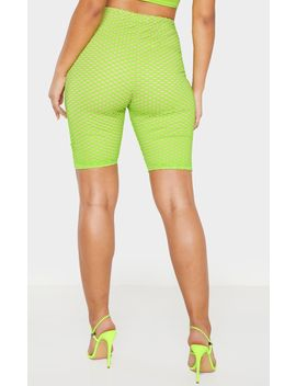 Neon Green Fishnet Overlay Cycle Short  by Prettylittlething