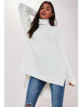 White Oversized Step Hem Roll Neck Jumper by Missguided