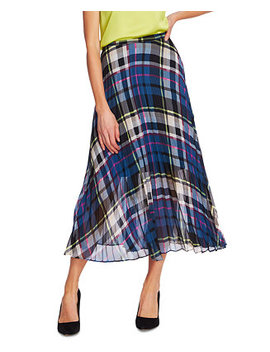 Plaid Escape Pleated Midi Skirt by General