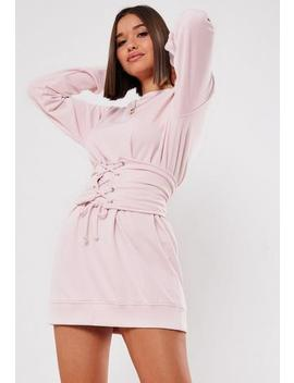 Pink Corset Waist Sweater Dress by Missguided