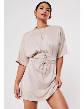 Stone Oversized Corset T Shirt Dress by Missguided