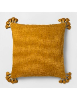 Euro Chunky Woven Tassel Decorative Pillow Saffron   Opalhouse™ by Shop Collections