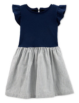 Toddler Girls Cotton Striped Bow Back Dress by General