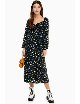 Yellow Floral Print Prairie Square Neck Midi Dress by Topshop