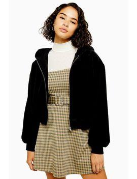Petite Black Faux Fur Zip Hoodie by Topshop