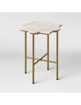 Amaranthus Curved White Marble Top End Table With Brass Base Natural   Opalhouse™ by Opalhouse