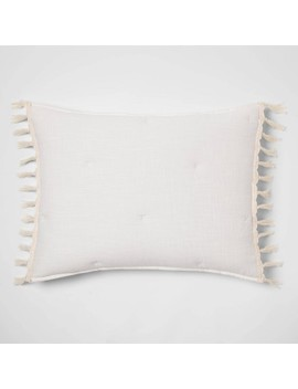 Solid Macrame Tassel Tufted Lofty Pillow Sham   Opalhouse™ by Shop This Collection