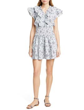 Provencal Ruffle Detail Smock Waist Cotton Minidress by La Vie Rebecca Taylor
