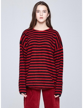 [Unisex] Oversized Stripe Angora Knit Red by Indigo Children