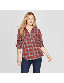 Women's Plaid Long Sleeve Cotton Flannel Shirt   Universal Thread™ Red by Universal Thread