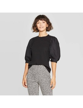 Women's Puff Elbow Sleeve Crewneck T Shirt   Who What Wear™ by Who What Wear