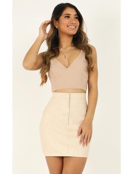 You Talk Skirt In Cream Leatherette by Showpo Fashion