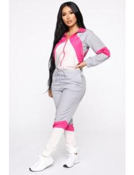 Too Fly Windbreaker Jumpsuit   Pink Multi by Fashion Nova