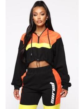 Too Fast For You Lounge Set   Black/Orange by Fashion Nova