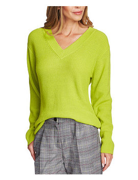 Ribbed V Neck Sweater by General