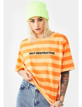 Self Destructive Striped Tee by Broken Promises Co