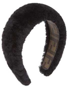 Black Shearling Hair Band by Fendi