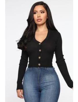 Kassie Button Sweater   Black by Fashion Nova