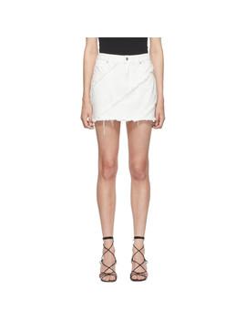 White Diagonal Sm Bite Skirt by Alexander Wang