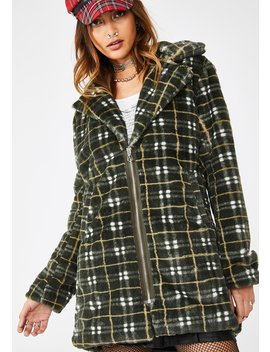 Grunge Plaid Faux Fur Coat by Jawbreaker