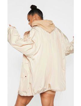 Plus Stone Oversized Shell Utility Jacket by Prettylittlething