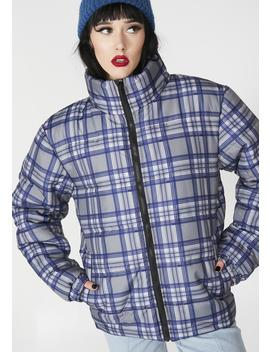 Plaid Puffer Jacket by Daisy Street