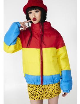 Rainbow Puffer Jacket by Daisy Street
