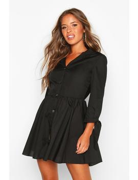 Petite Button Through Smock Dress by Boohoo