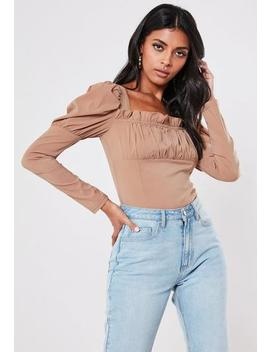 Nude Milkmaid Gathered Puff Sleeve Bodysuit by Missguided