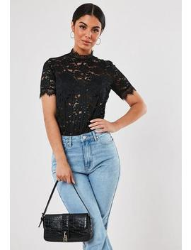 Black Lace Corset Detail High Neck Bodysuit by Missguided