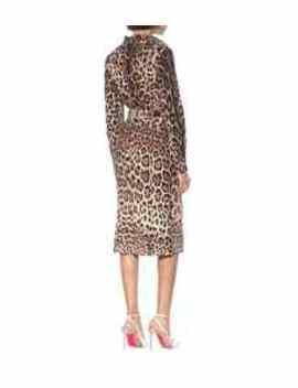 Leopard Print Stretch Silk Skirt by Dolce & Gabbana